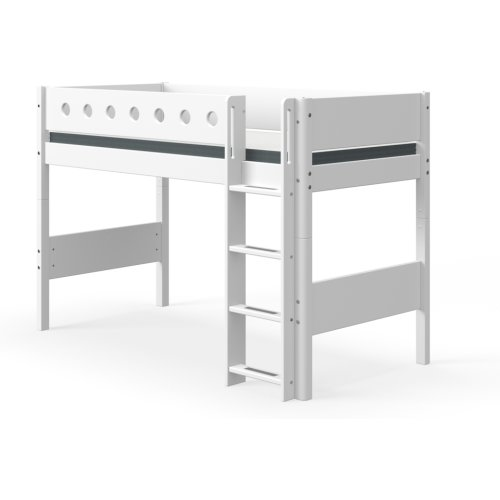 FLEXA White mittelhohes Bett, Höhe: 143cm, Leiter gerade, weiss