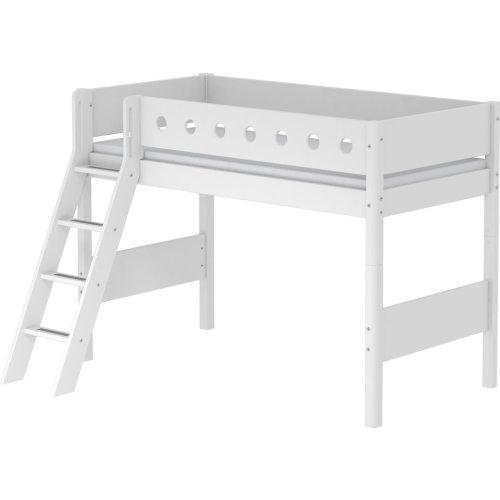 Kopie von FLEXA White mittelhohes Bett, Leiter gerade, weiss