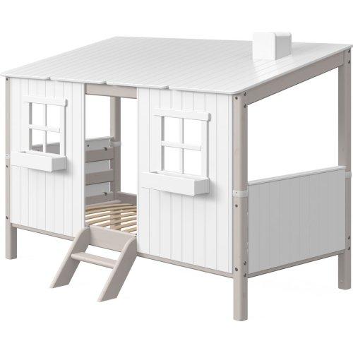 FLEXA Classic Einzelbett mit ganzem Baumhaus Aufsatz und Leiter grau lasiert/weiß