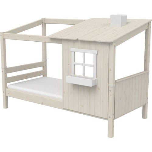 FLEXA Classic Einzelbett mit halbem Baumhaus Aufsatz mattweiß/weiß
