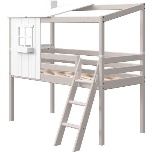 Kopie von FLEXA Classic halbhohes Bett mit halbem Baumhaus Aufsatz mattweiß/weiß