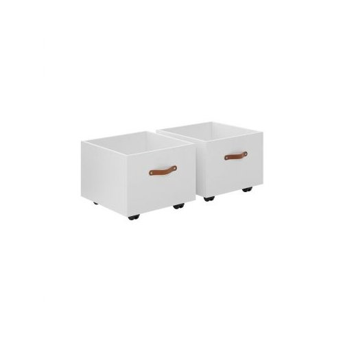 mit Rollboxen und Ledergriff - nur in Weiß lieferbar
